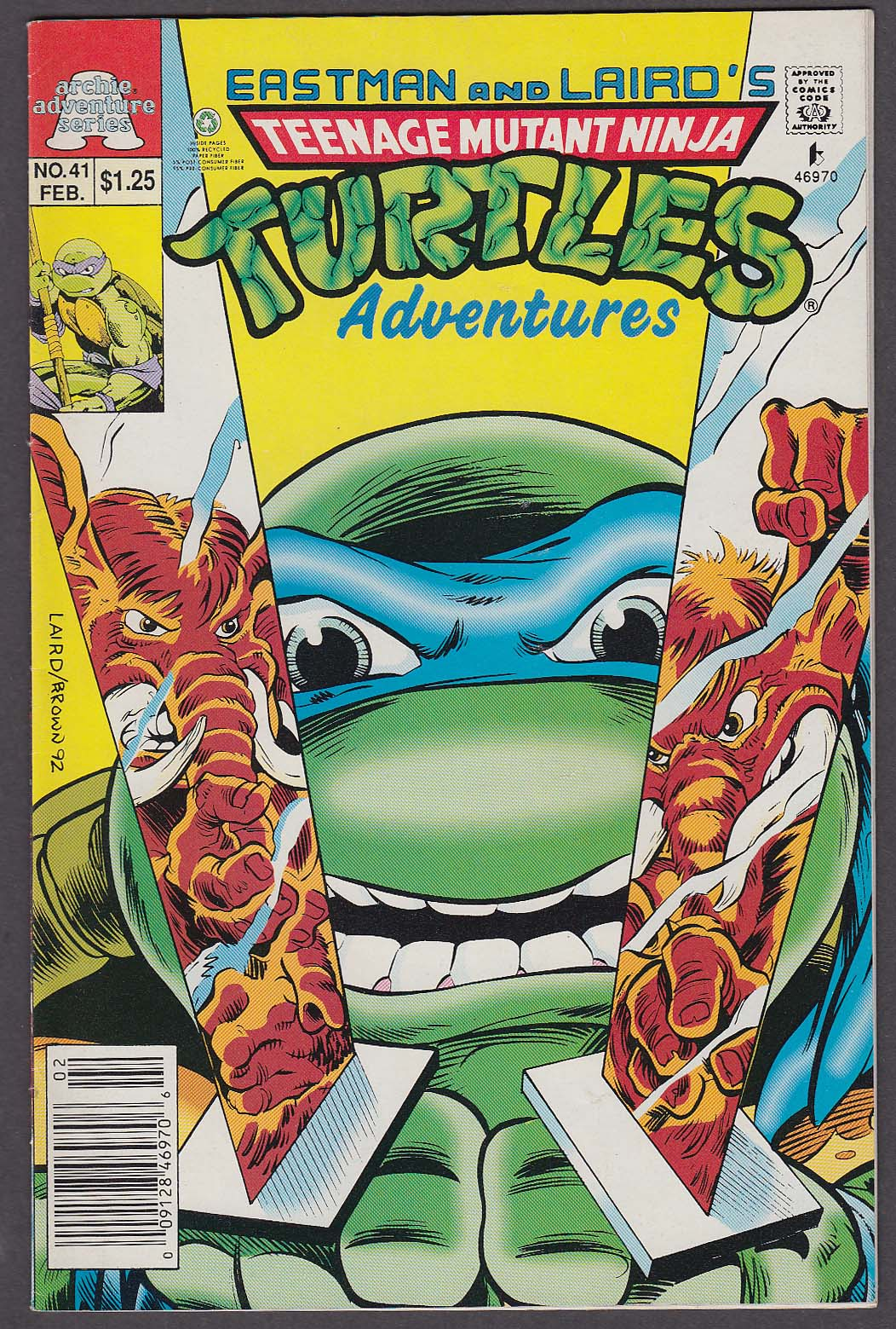 TEENAGE MUTANT NINJA TURTLES ADVENTURES #41 Archie comic book 2 1993