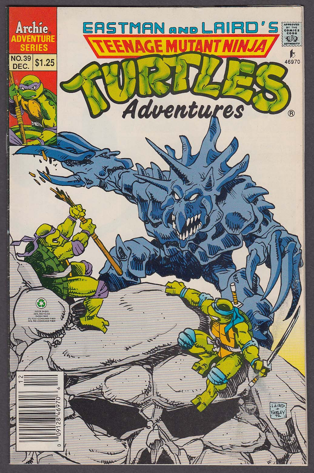 TEENAGE MUTANT NINJA TURTLES ADVENTURES #39 Archie comic book 12 1992