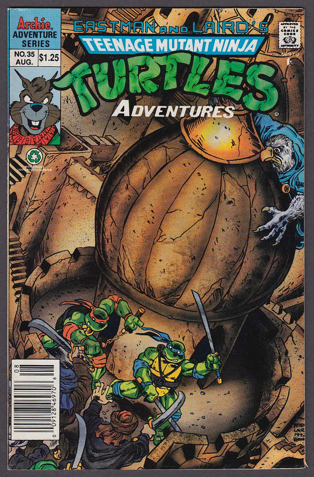 TEENAGE MUTANT NINJA TURTLES ADVENTURES #35 Archie comic book 8 1992