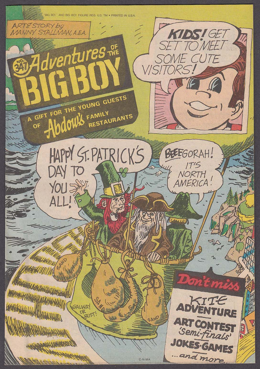 Adventures of the BIG BOY #347 comic book Abdow's Family Restaurants 1986
