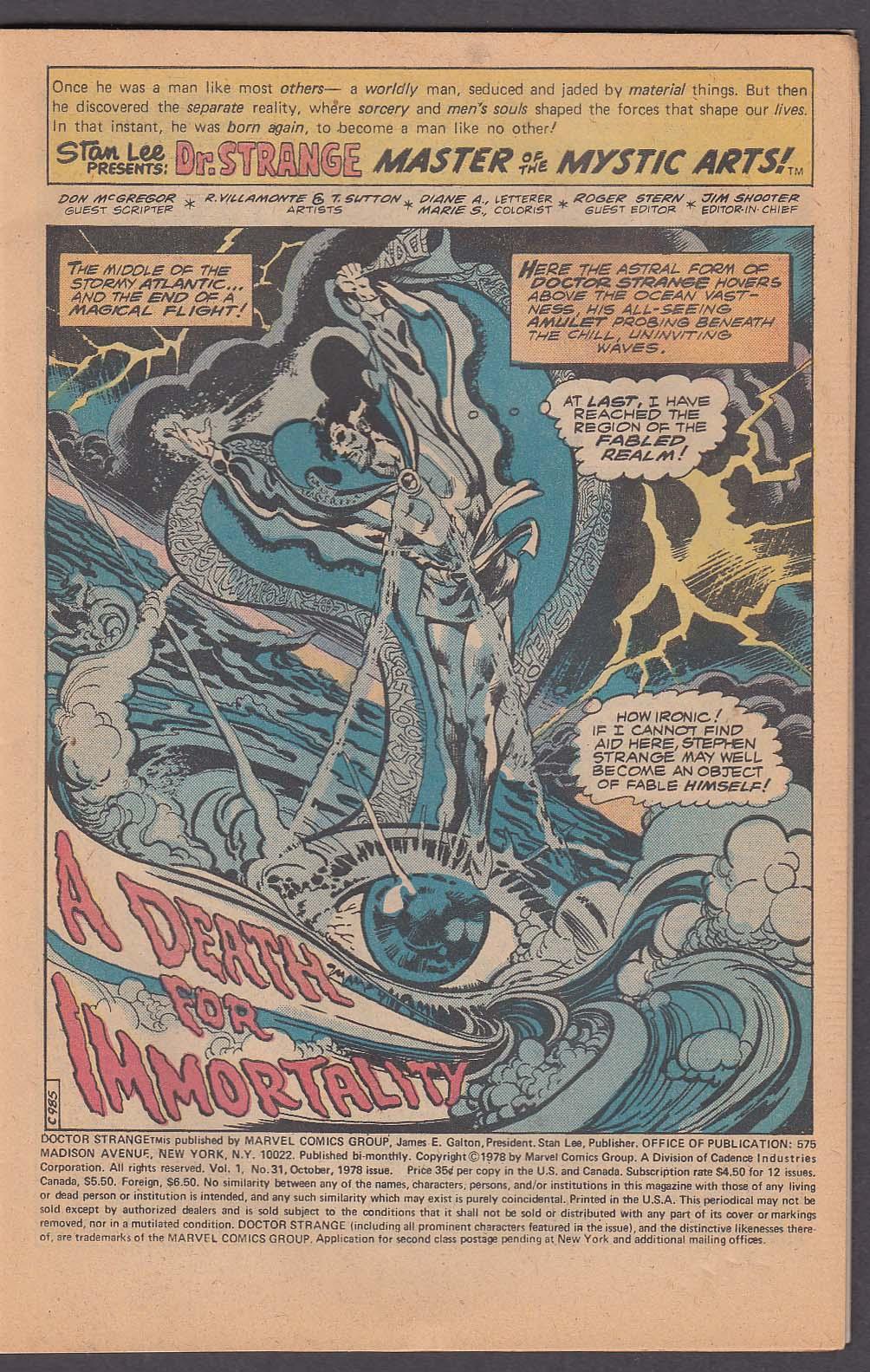 Image for DOCTOR STRANGE #31 Marvel comic book 10 1978