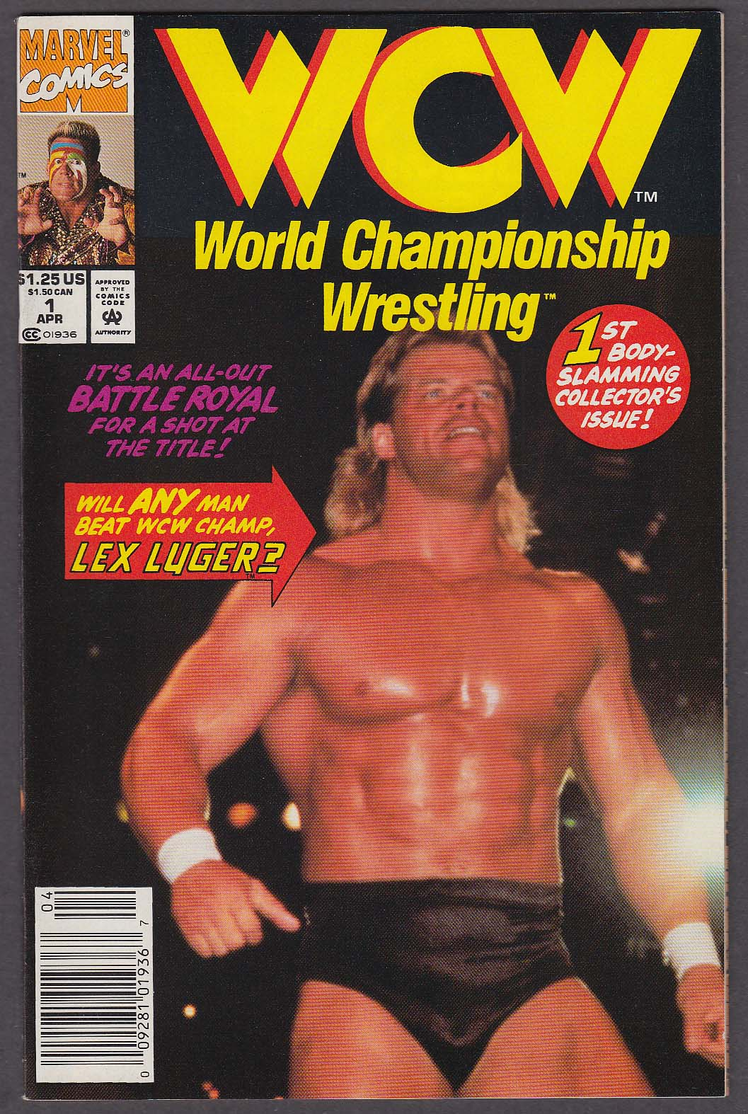WCW WORLD CHAMPIONSHIP WRESTLING #1 Marvel comic book 4 1992 Lex Luger