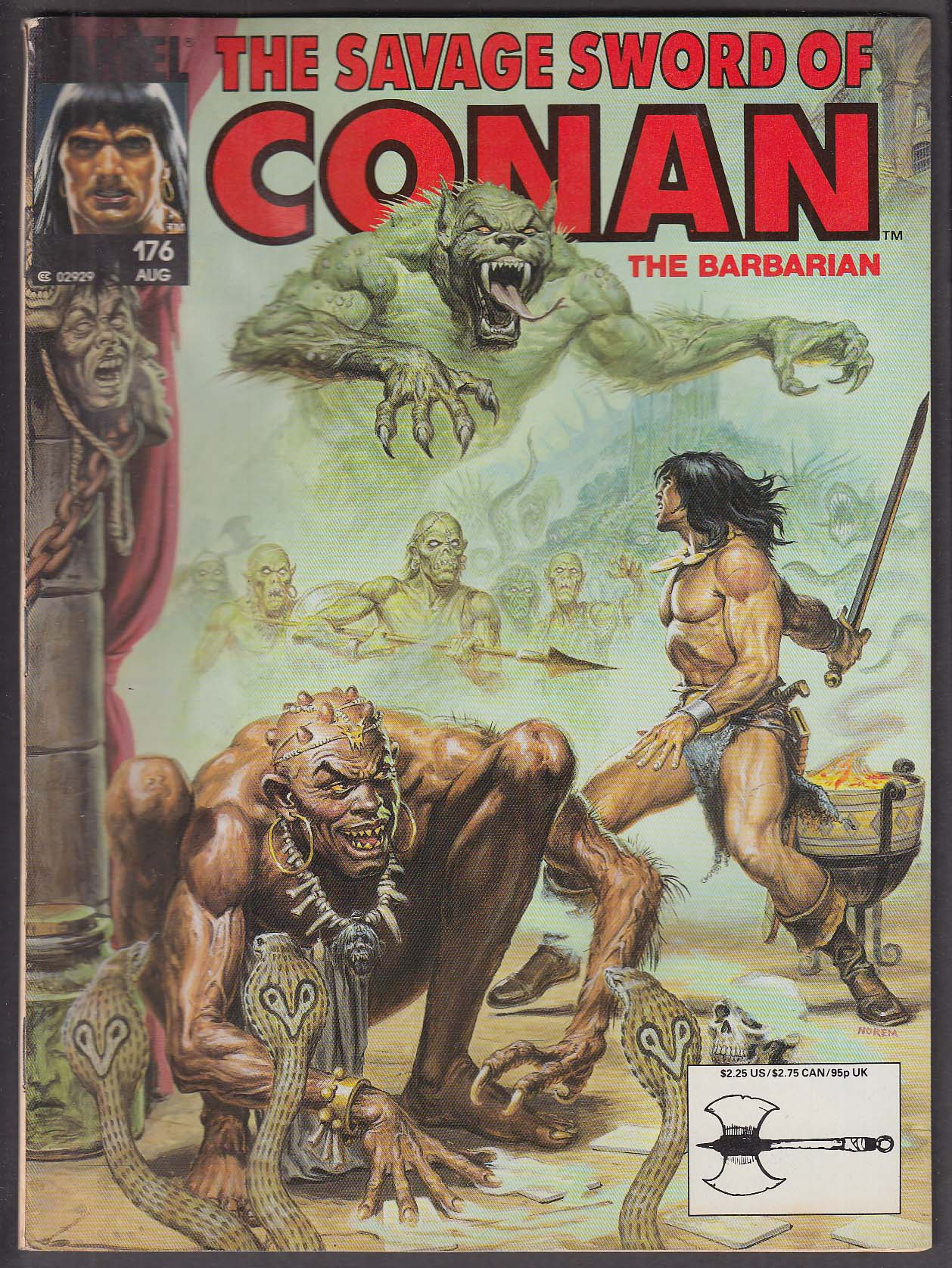 SAVAGE SWORD of CONAN the BARBARIAN #176 Marvel comic magazine 8 1990