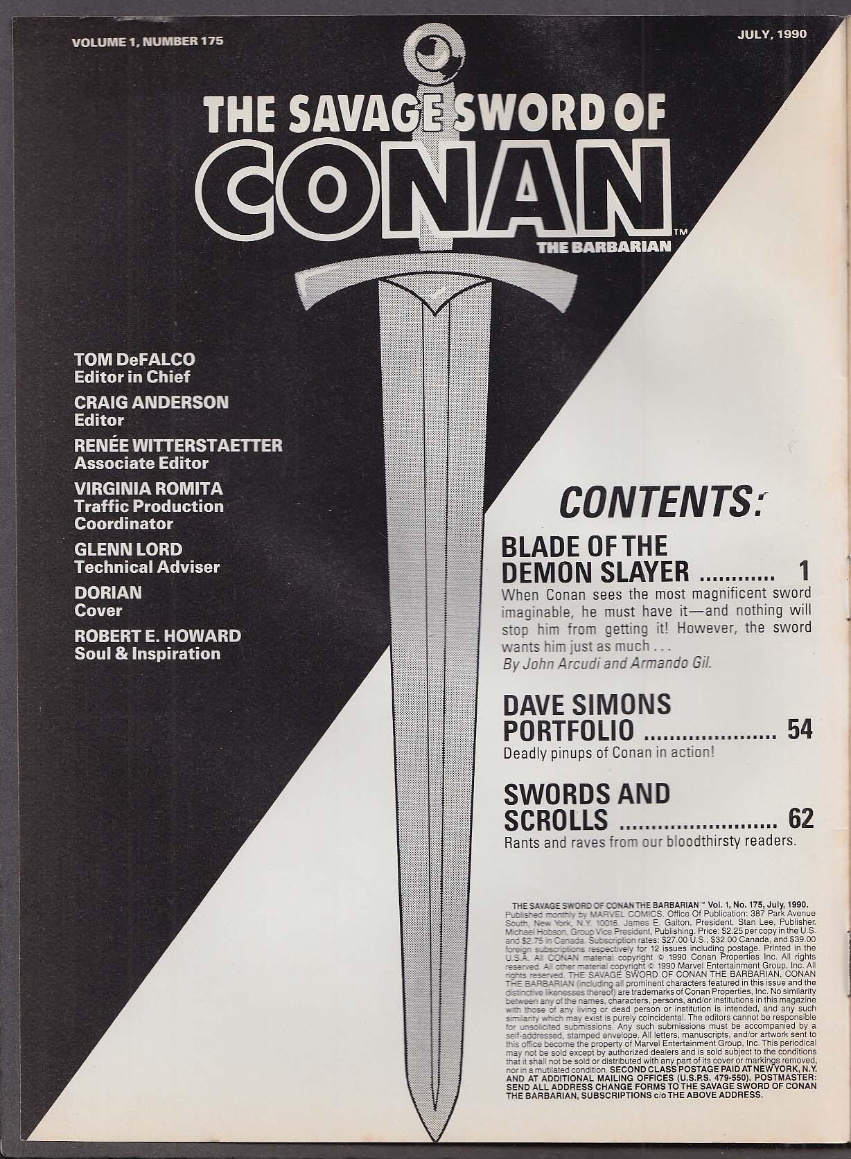 SAVAGE SWORD of CONAN the BARBARIAN #175 Marvel comic magazine 7 1990