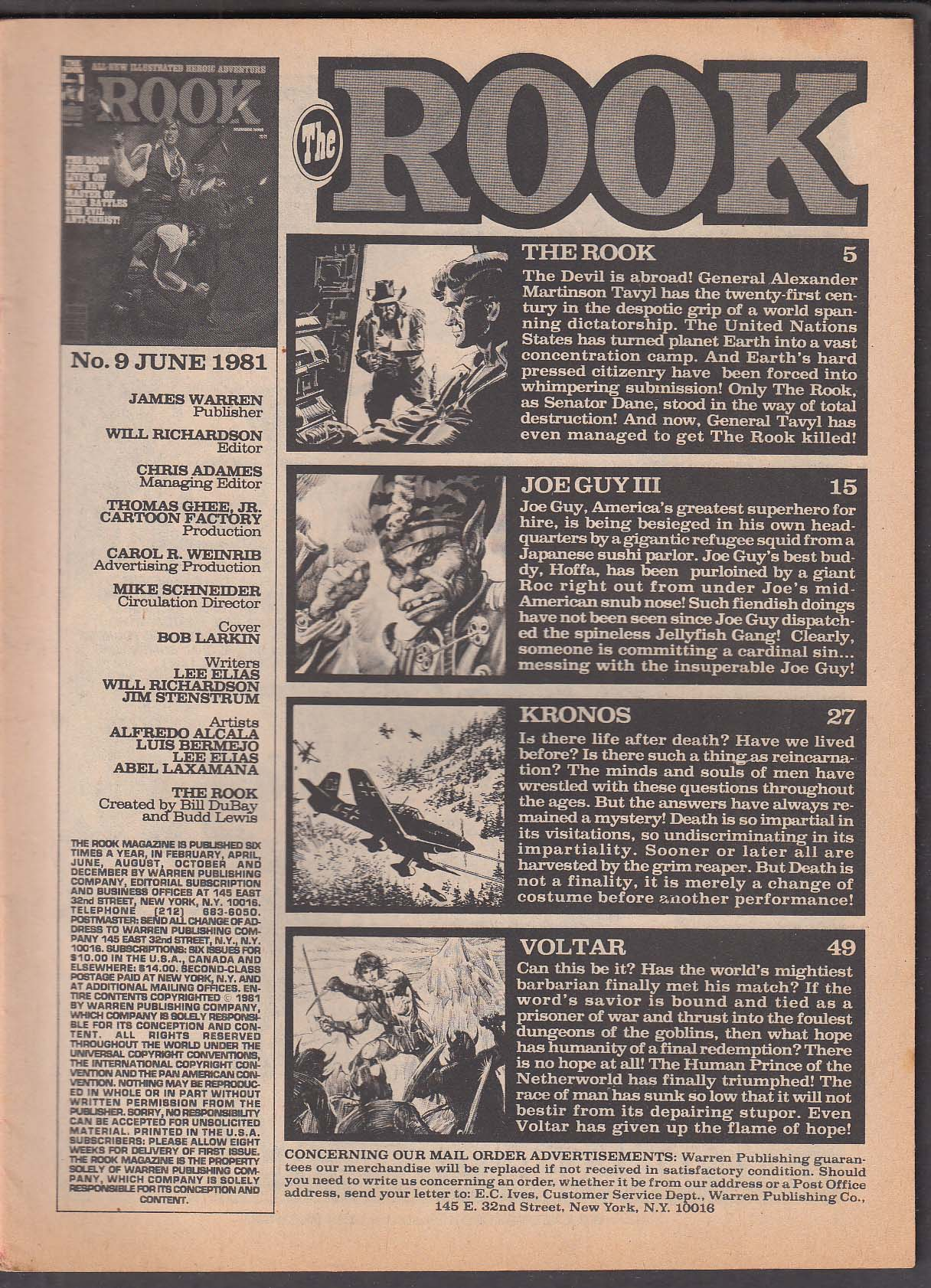The ROOK #9 Warren comic magazine 6 1981