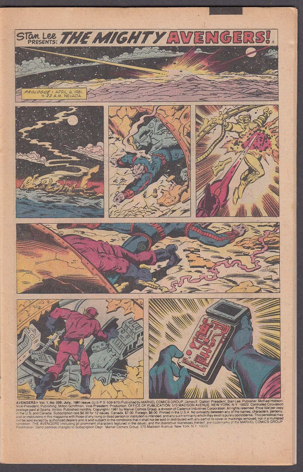 The AVENGERS #209 Marvel comic book 7 1981