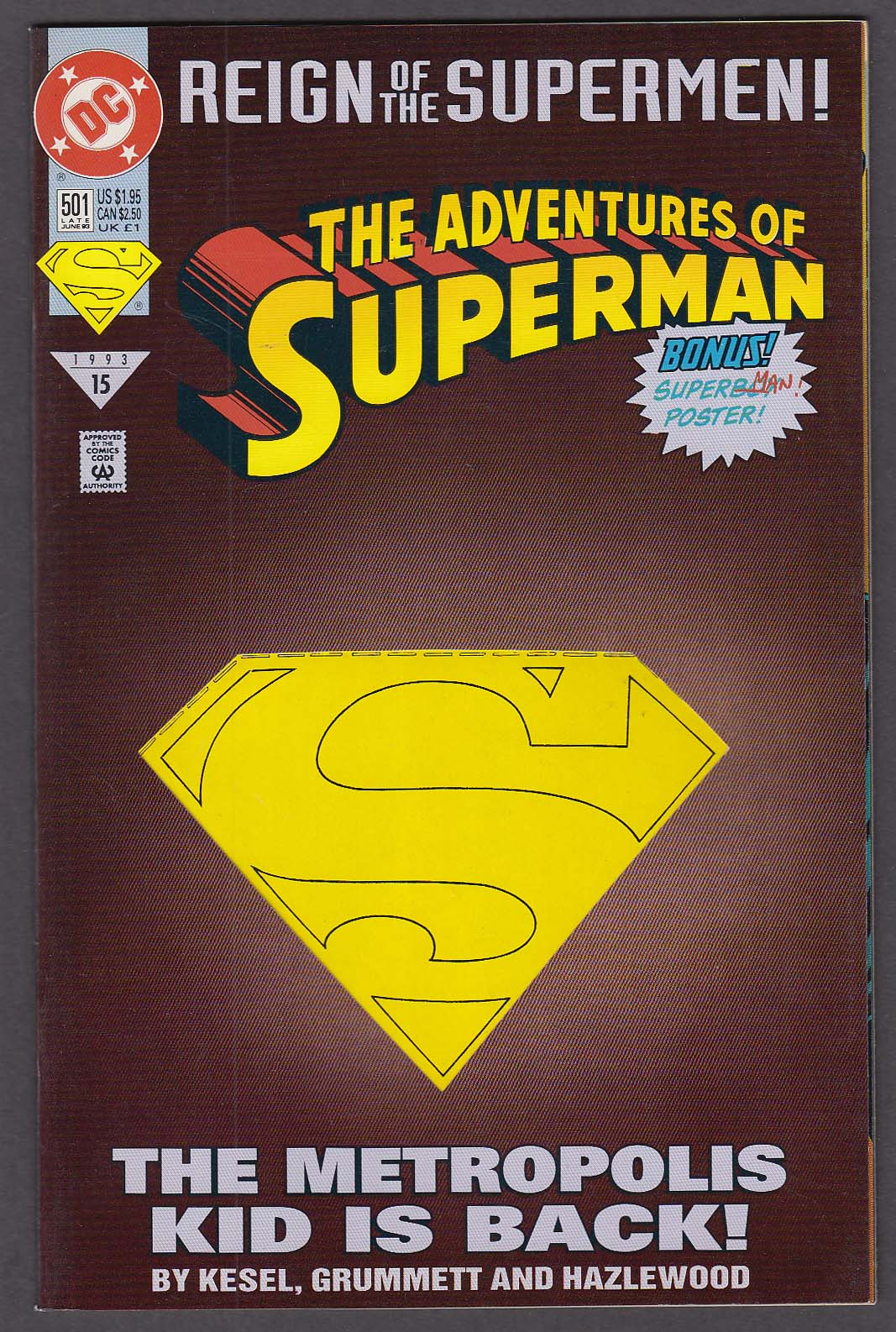 ADVENTURES of SUPERMAN #501 DC comic book 6 1993 Reign of the Supermen #15