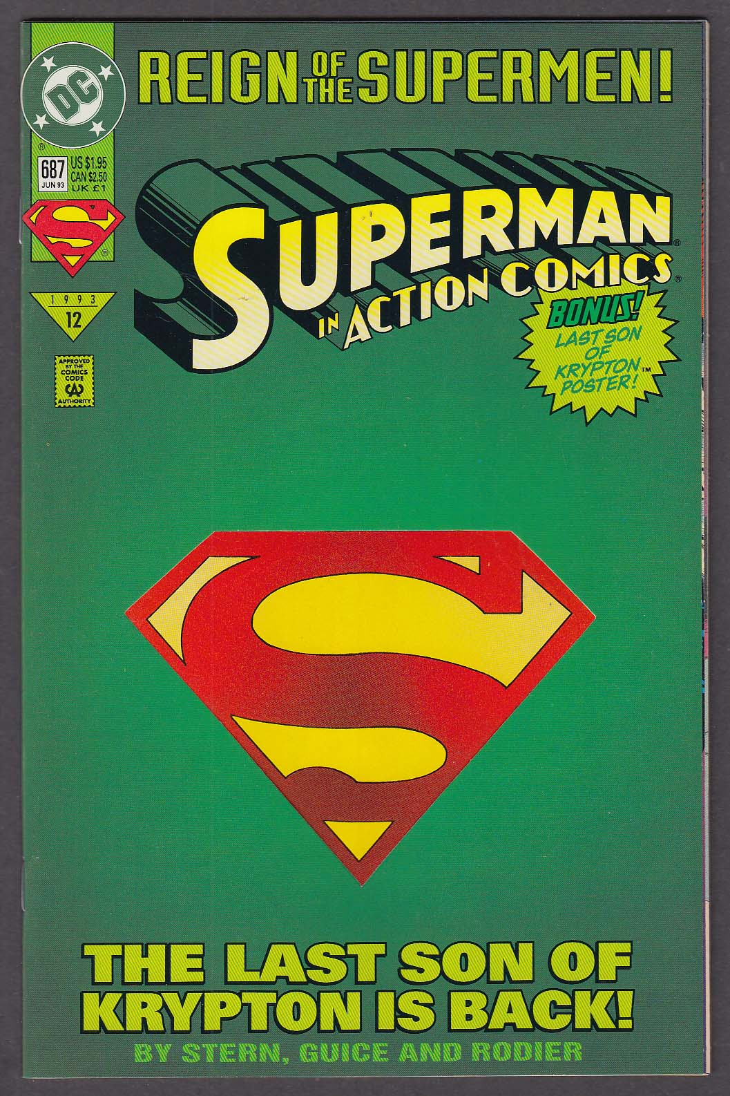 ACTION COMICS #687 DC comic book 6 1993 Superman Reign of the Supermen #12