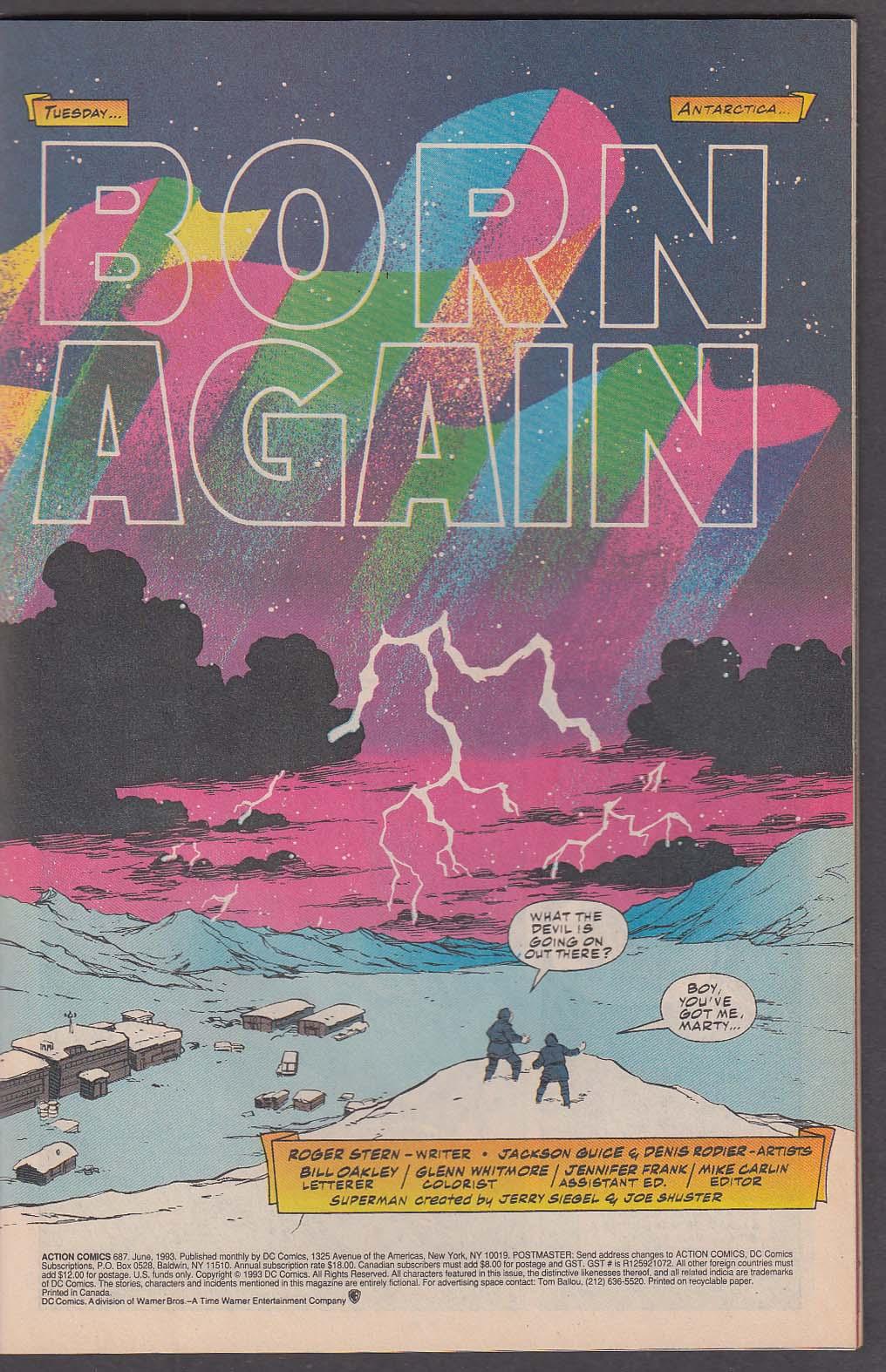 ACTION COMICS #687 DC comic book 6 1993 Superman Reign of the Supermen #12