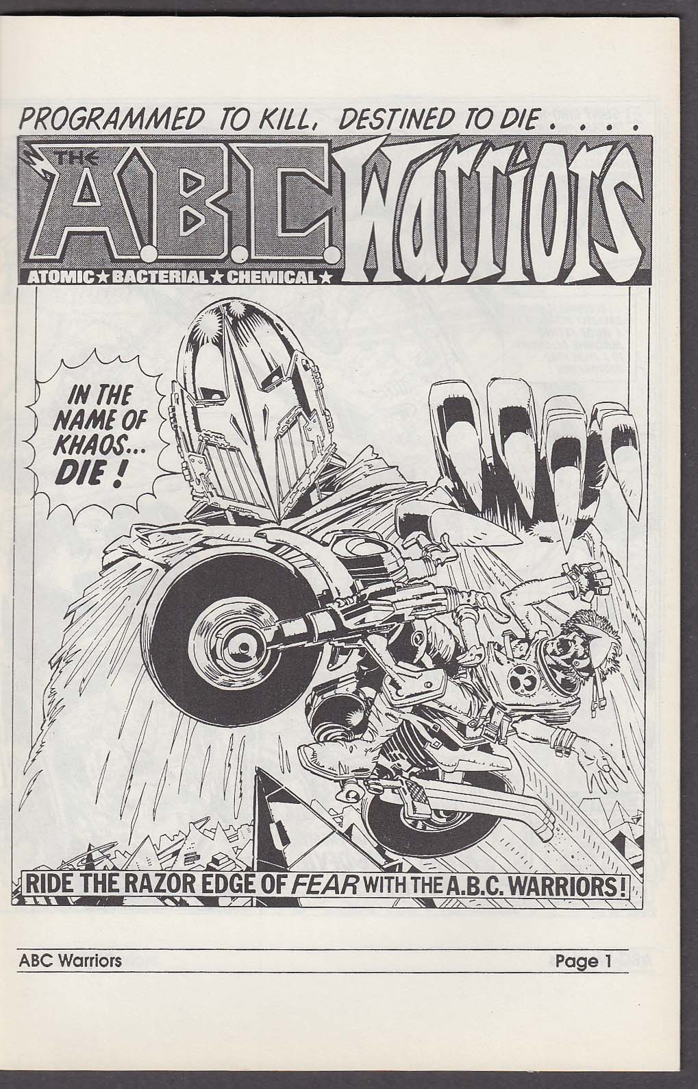 ABC WARRIROS #2 Fleetway Quality comic book 1990s Atomic Bacterial Chemical