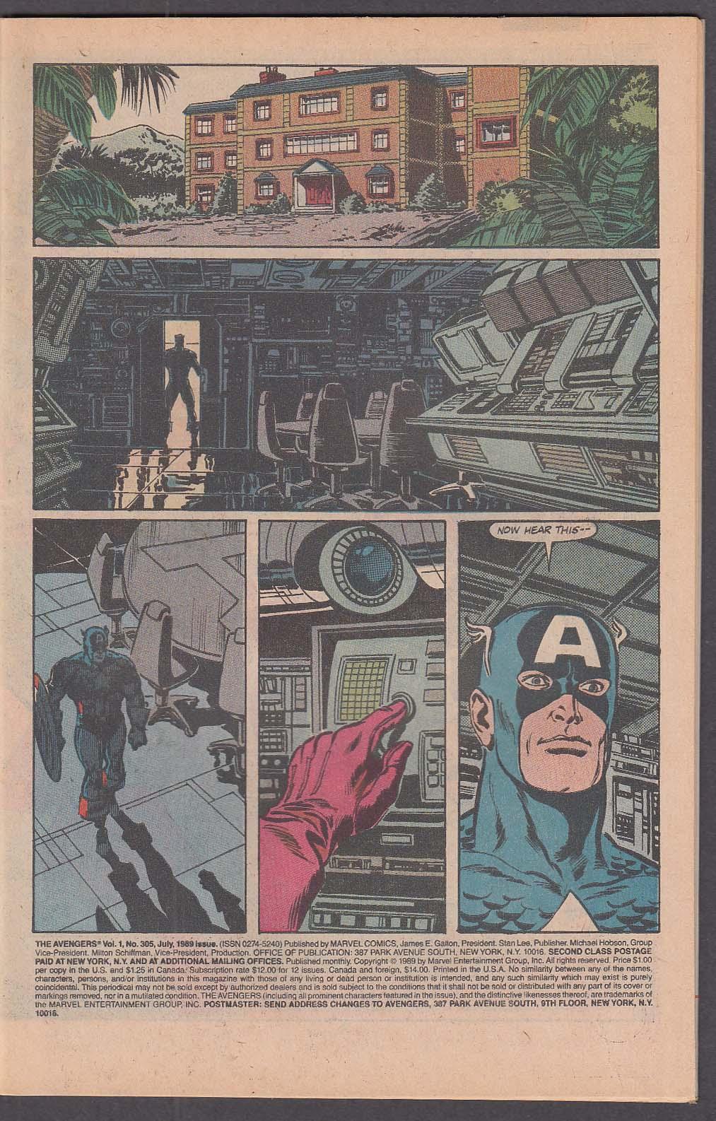 AVENGERS #305 Marvel comic book 7 1989 Attack of the Lava Men