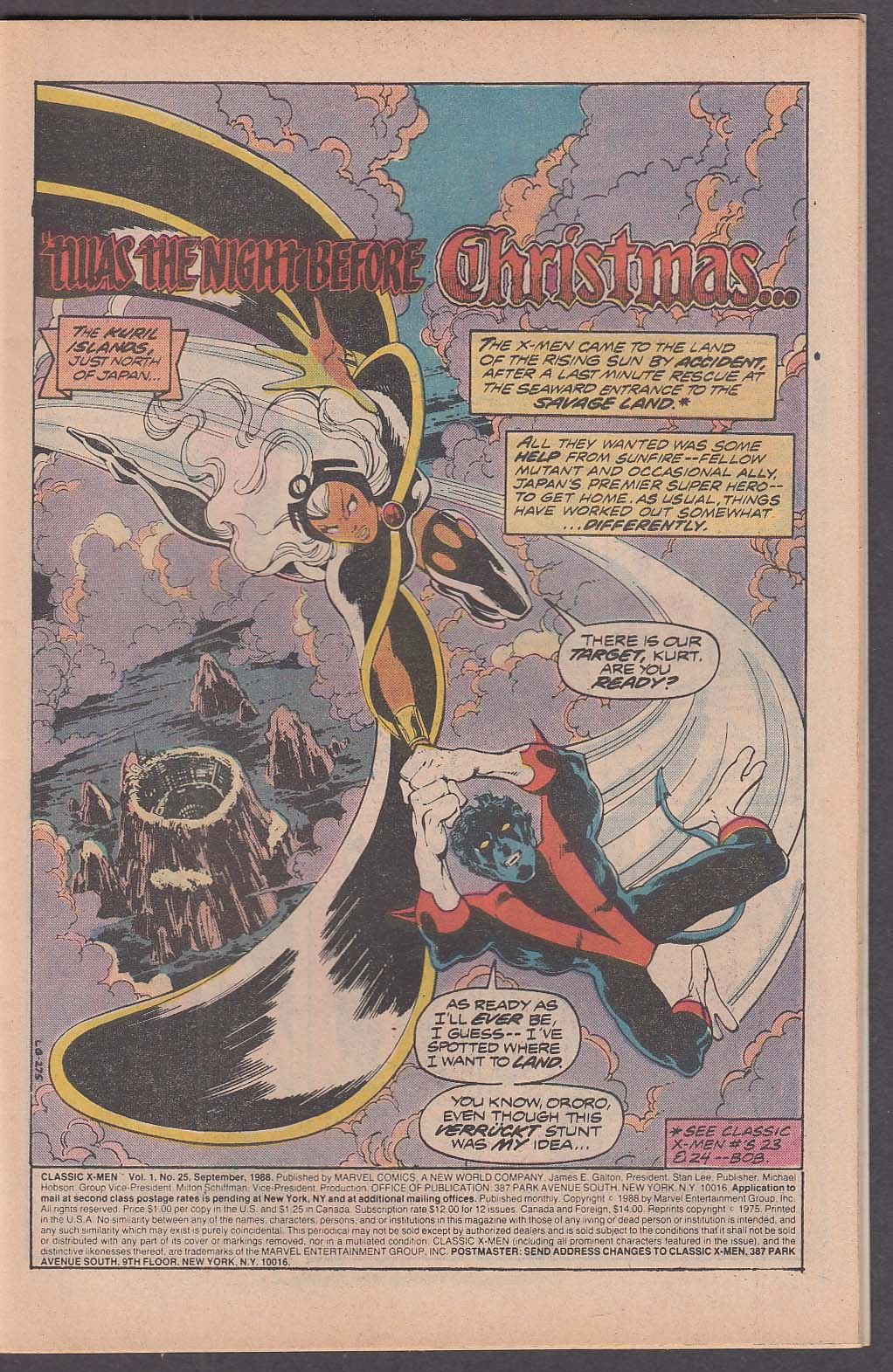 CLASSIC X-MEN #25 Marvel comic book 9 1988