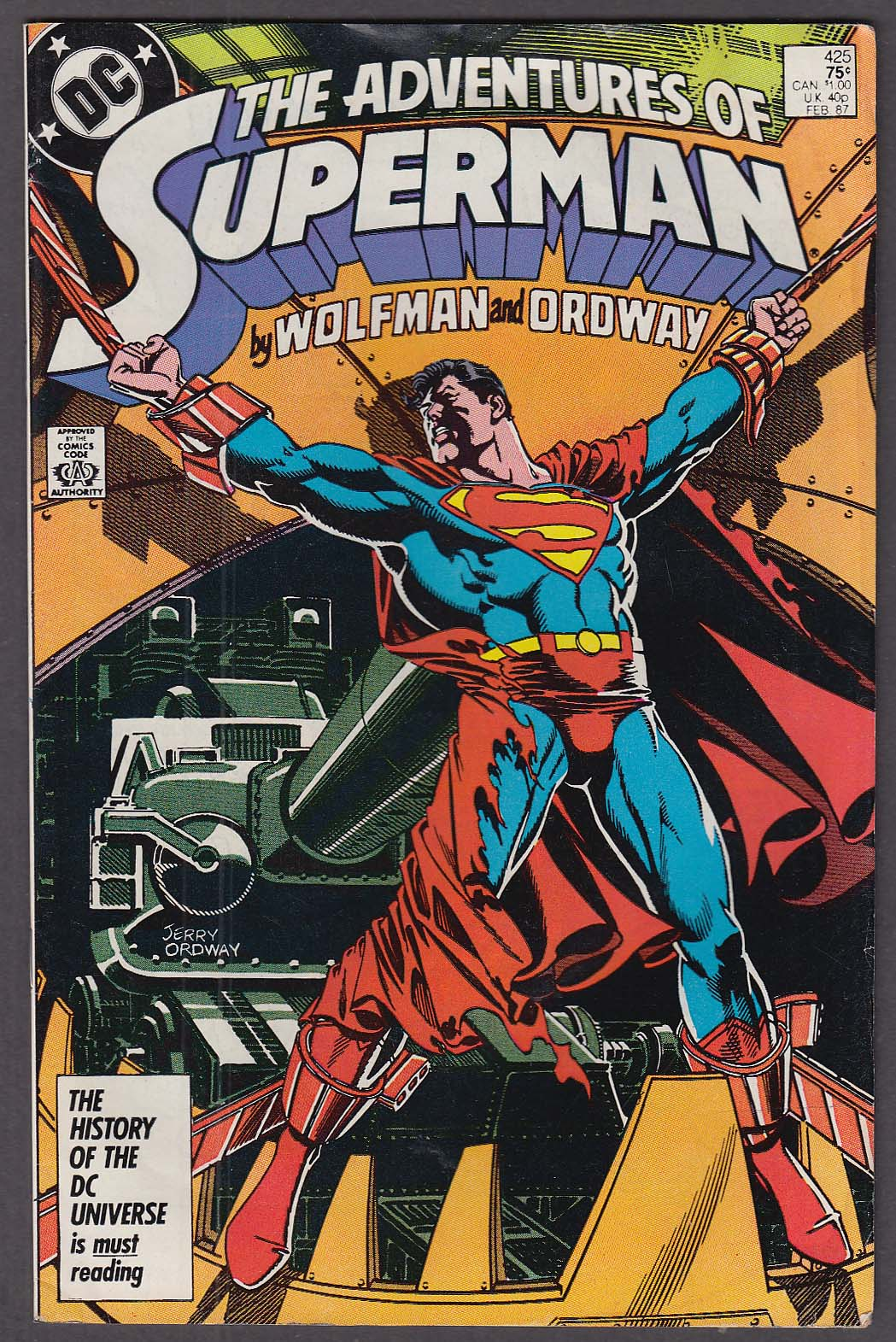 ADVENTURES of SUPERMAN #425 DC comic book 2 1987