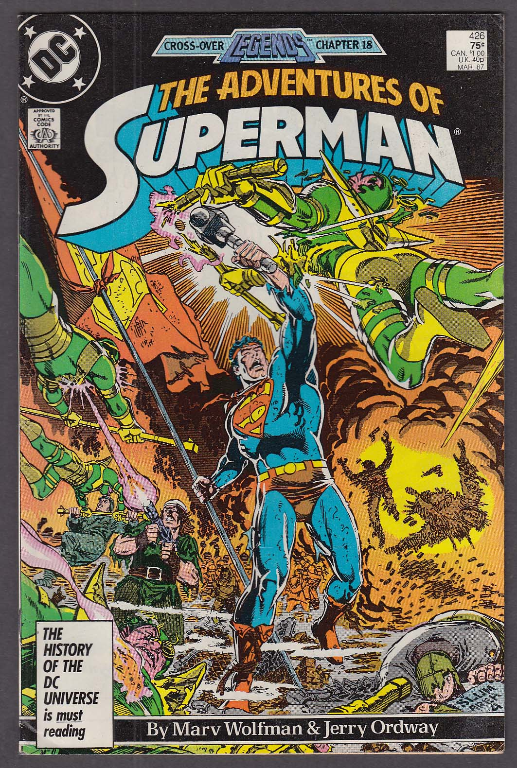 ADVENTURES of SUPERMAN #426 DC comic book 3 1987 Legends Chapter 18