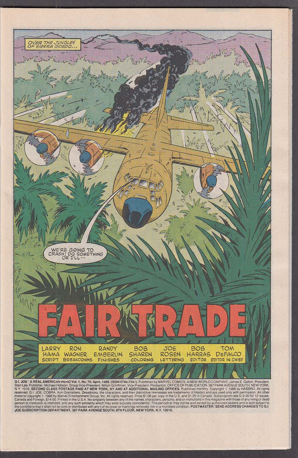 GI JOE #70 Marvel comic book 4 1988