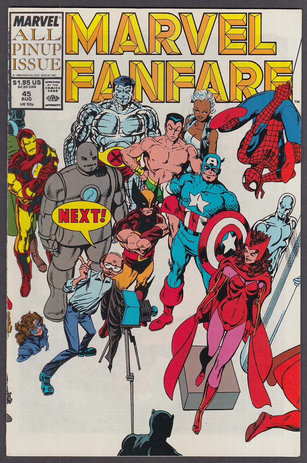 MARVEL FANFARE #45 comic book 8 1989 All Pin-Up Issue Wolverine Spider-Man ++
