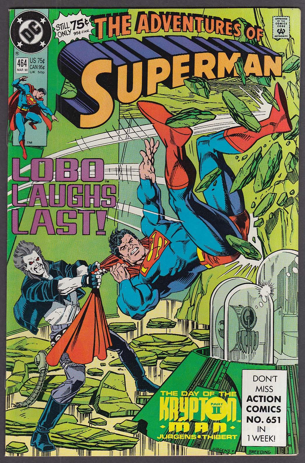 ADVENTURES of SUPERMAN #464 DC comic book 3 1990