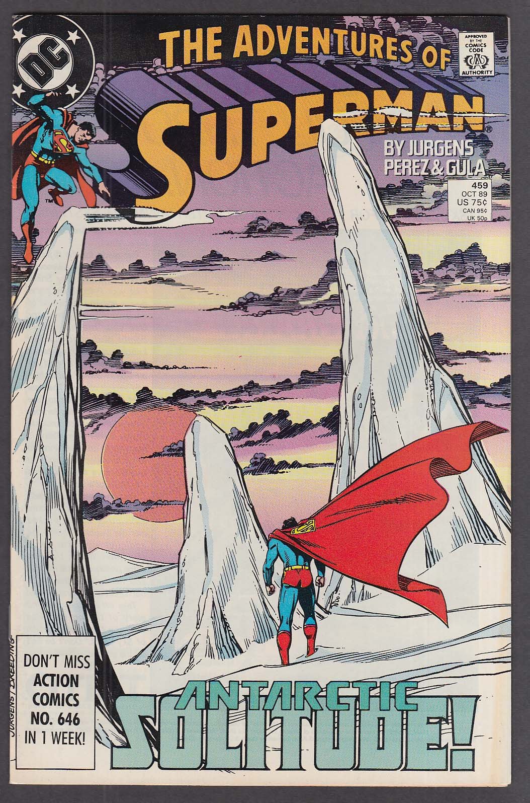 ADVENTURES of SUPERMAN #459 DC comic book 10 1989