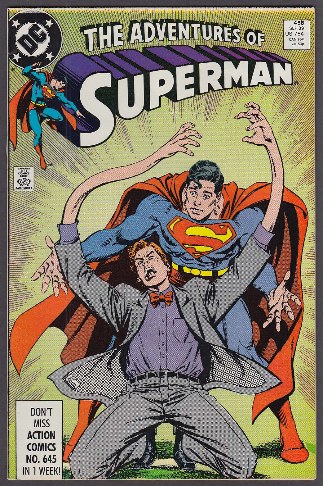 ADVENTURES of SUPERMAN #458 DC comic book 9 1989