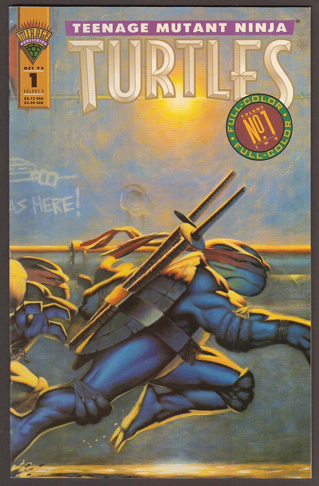 TEENAGE MUTANT NINJA TURTLES Vol 2 #1 Mirage comic book 10 1993