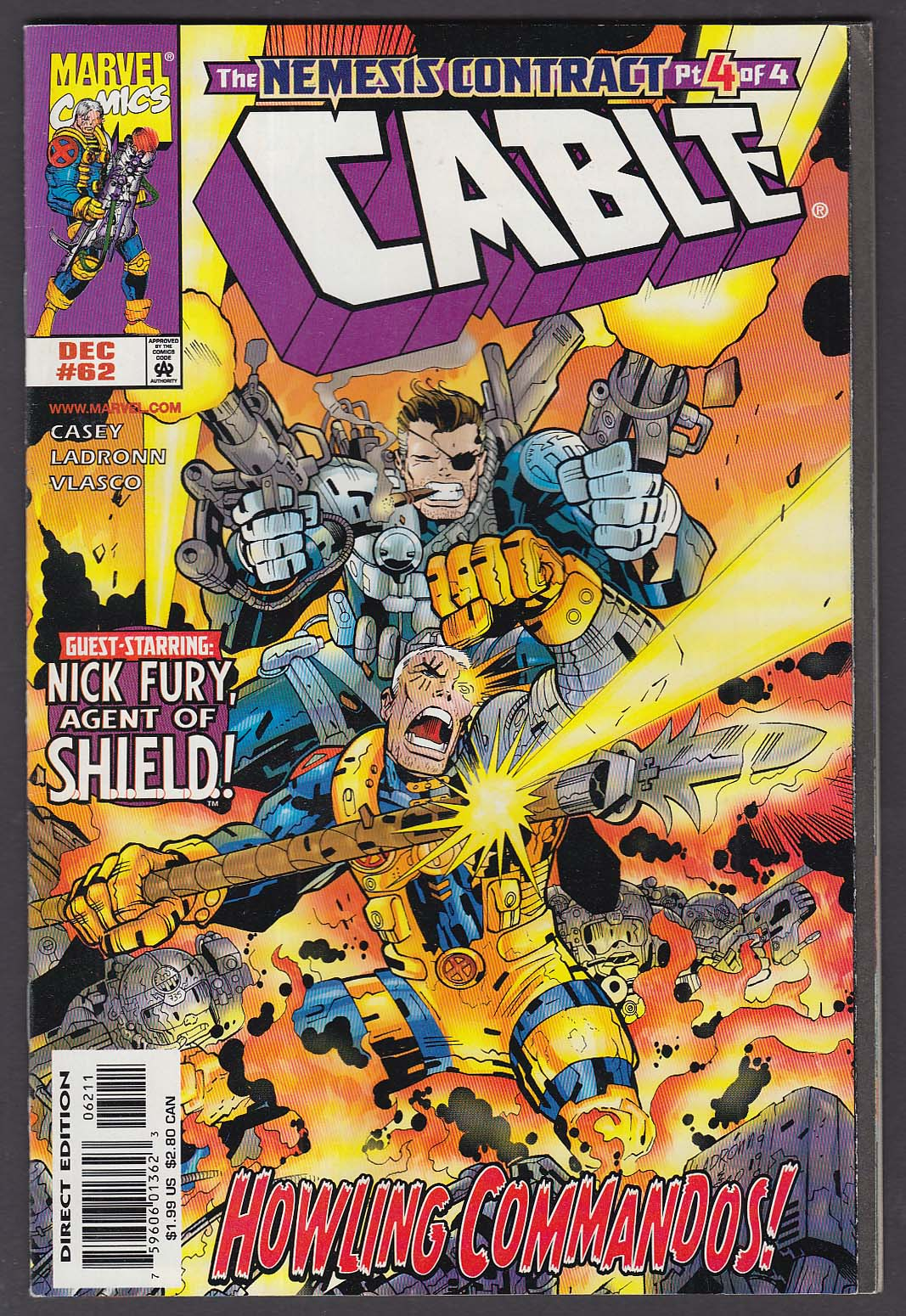 CABLE #62 Marvel comic book 12 1998 Nick Fury