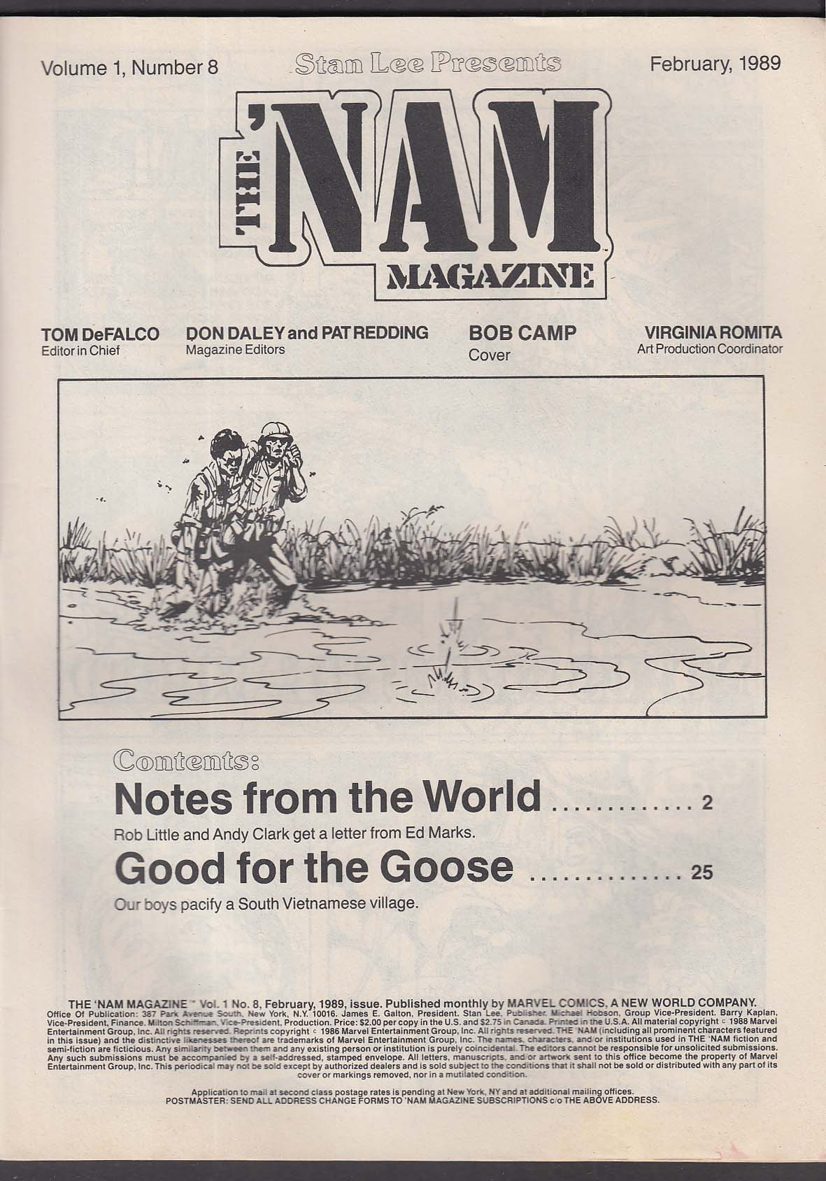 The 'NAM MAGAZINE #8 Marvel comic book 2 1989