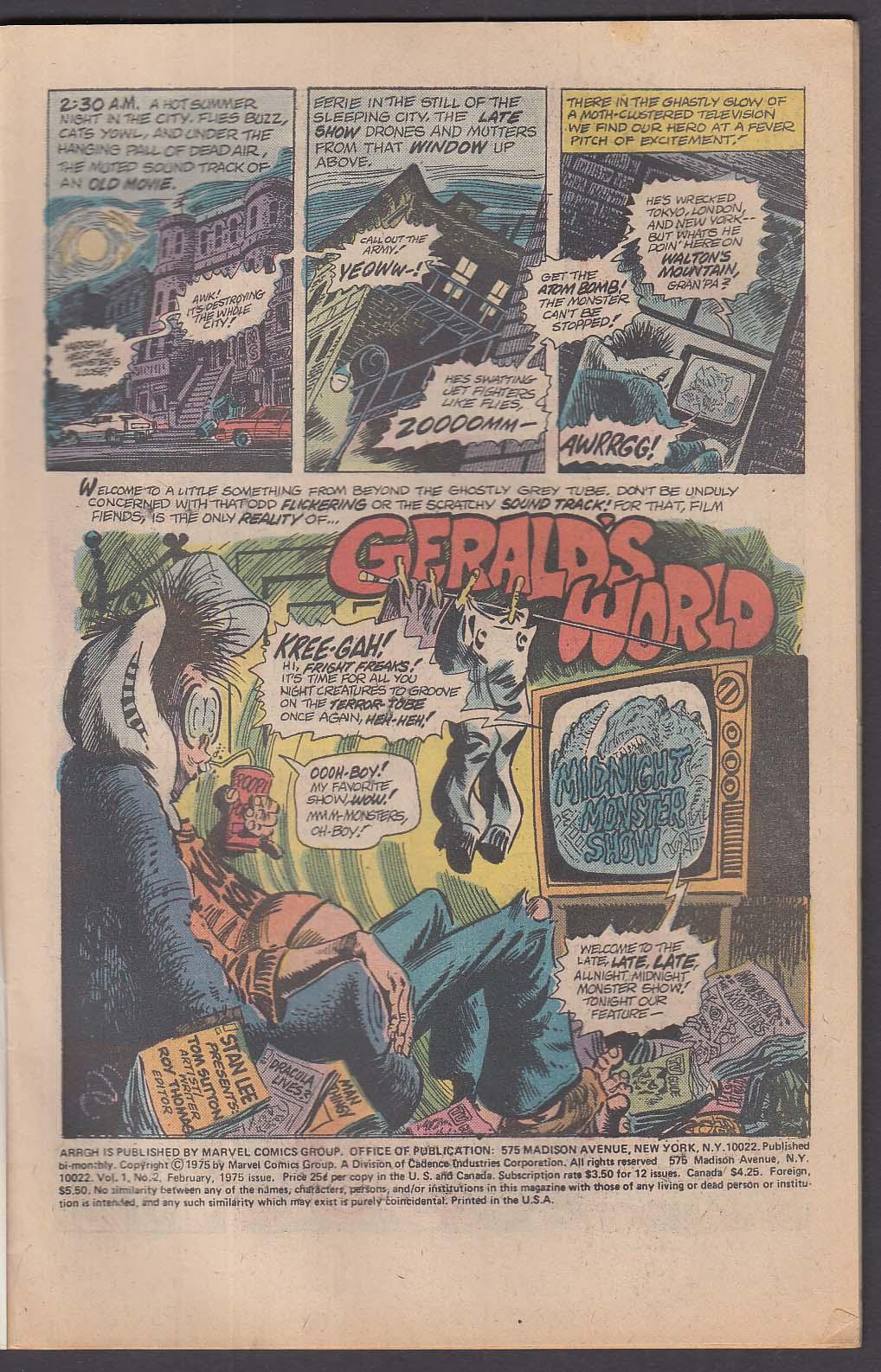 ARRGH Vol 1 #2 Marvel comic book 2 1975