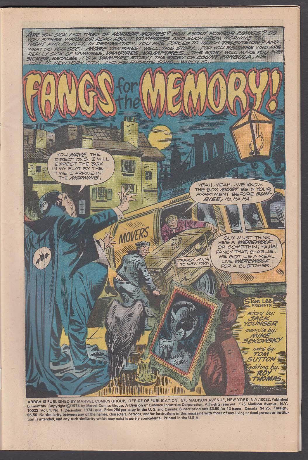ARRGH Vol 1 #1 Marvel comic book 12 1974