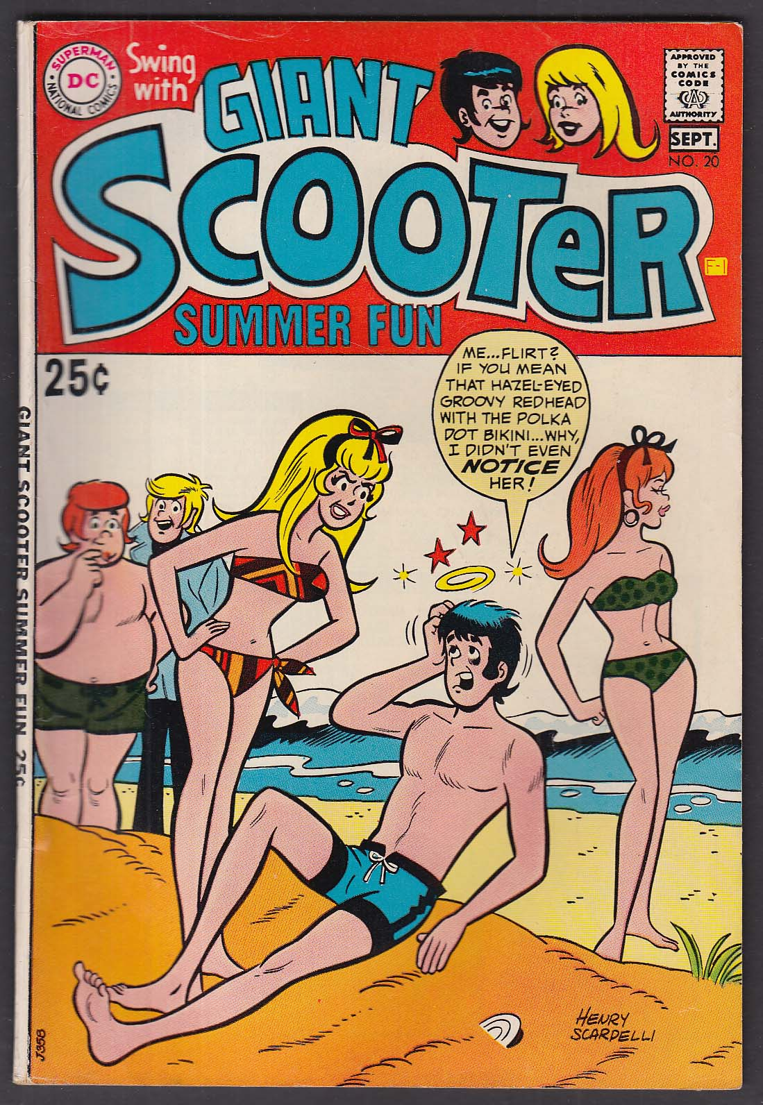 Swing with SCOOTER #20 DC comic book 9 1969 Giant Scooter Summer Fun