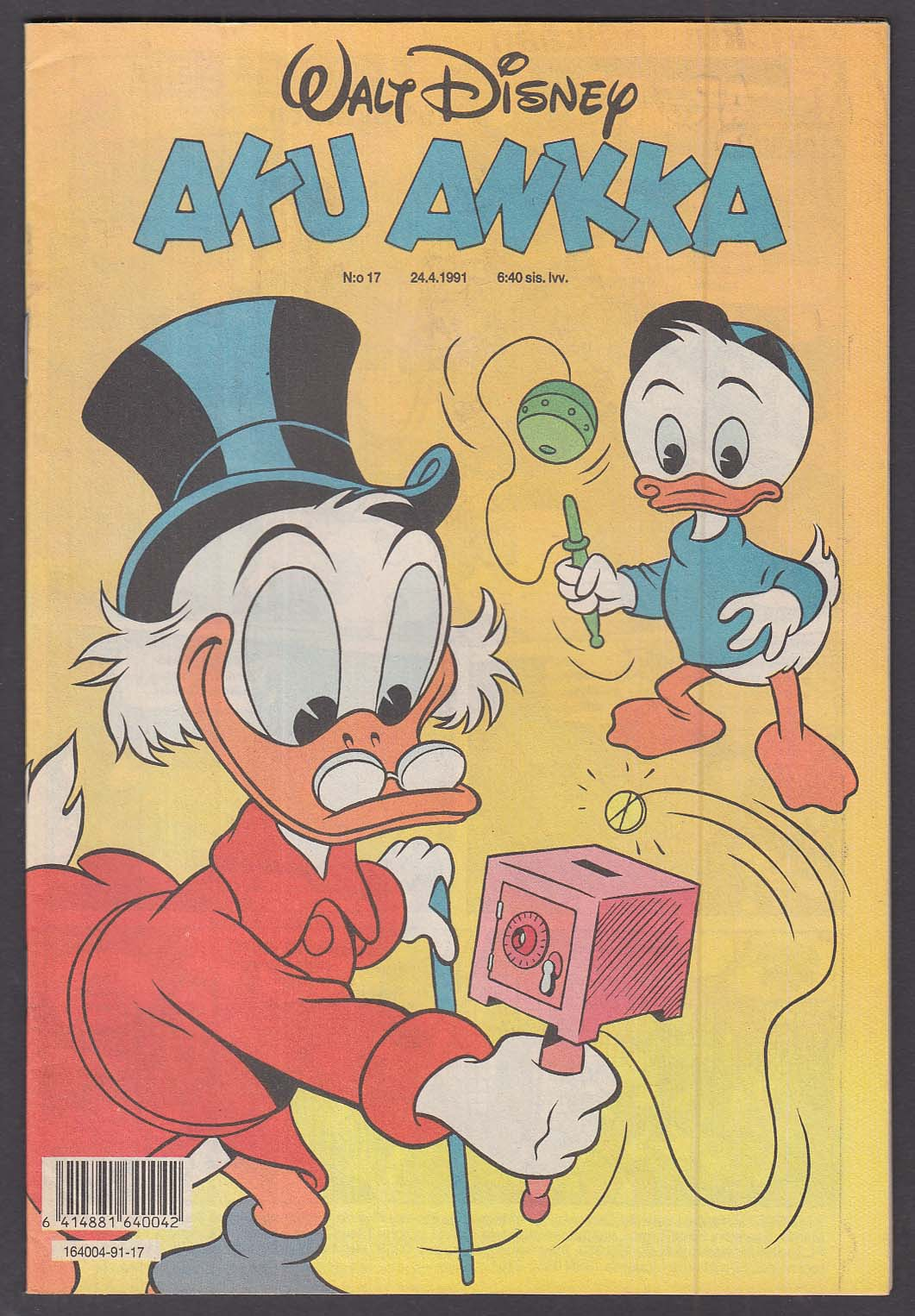 Walt Disney AKU ANKKA Finnish-language Donald Duck comic book #17 24.4 1991