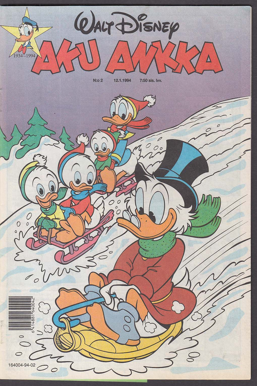 Walt Disney AKU ANKKA Finnish-language Donald Duck comic book #2 12.1 1994