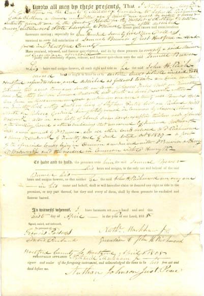 1822 deed Nathaniel Markham-Samuel Brewer CT