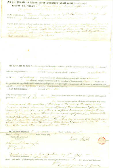 Image for 1837 deed Isaac Hiller-Samuel Brewer CT