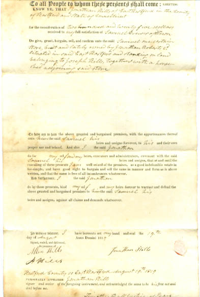 Image for 1819 deed Jonathan Hills-Samuel Brewer CT