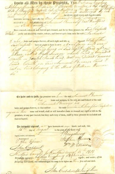 1818 deed Andrew Kingsbury-Samuel Brewer CT