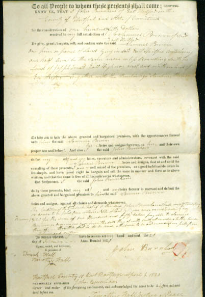 1820 deed John Burnham-Samuel Brewer CT