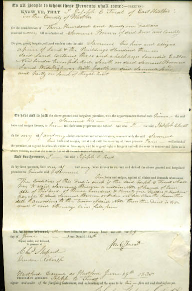 1835 deed Joseph B Treat-Samuel Brewer CT