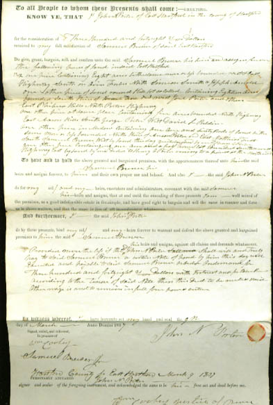 1837 deed John N Porter-Samuel Brewer CT
