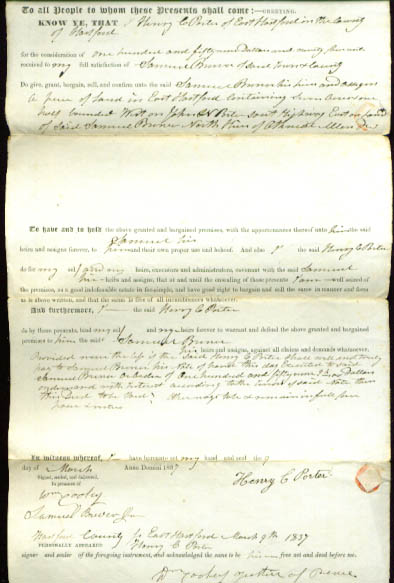 1837 deed Henry C Porter-Samuel Brewer CT