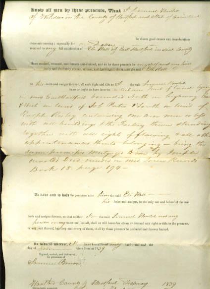 1839 deed Lemuel Howlet-Eli Hall CT