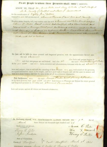 1846 deed Anna & Henry Porter-Samuel Brewer