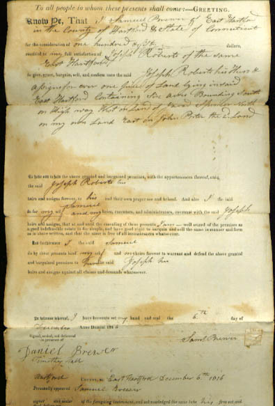 1816 deed Samuel Brewer-Joseph Roberts CT