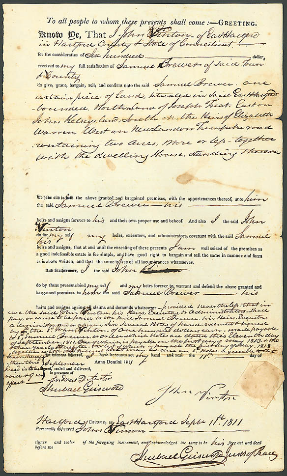 1811 deed Samuel Brewer-John Vinton E Hartford CT