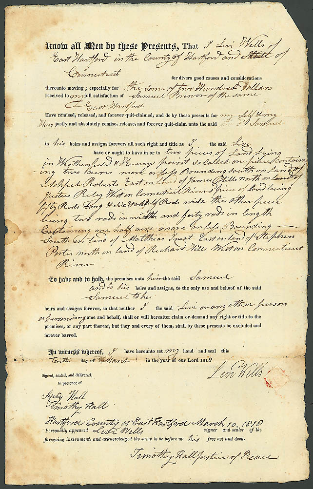 1818 deed Samuel Brewer-Levi Wells E Hartford CT