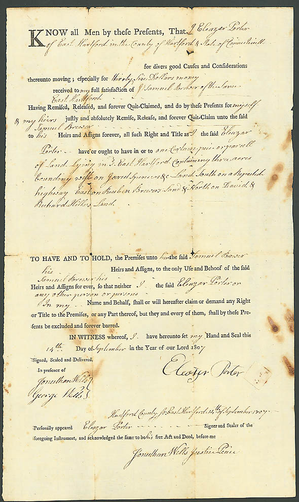 1807 deed Samuel Brewer-Eleazar Porter E Hartford CT