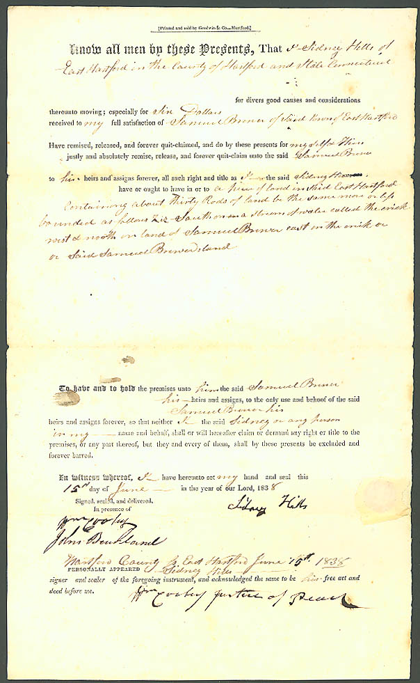 1838 deed Samuel Brewer-Sidney Hills E Hartford CT