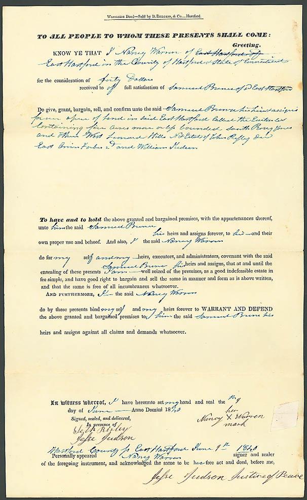 1840 deed Samuel Brewer-Nancy Warren E Hartford CT