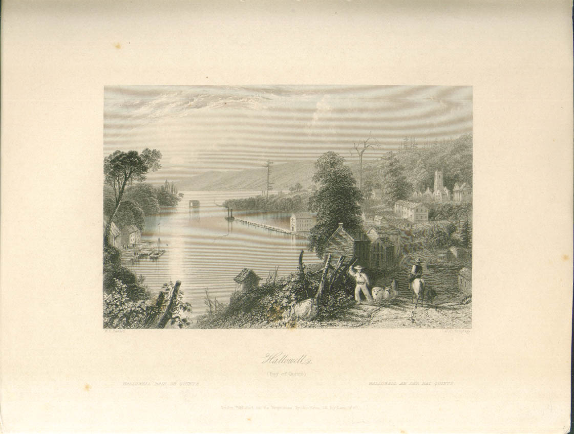 Hallowell Bay of Quinte Ontario Bartlett engraving 1840