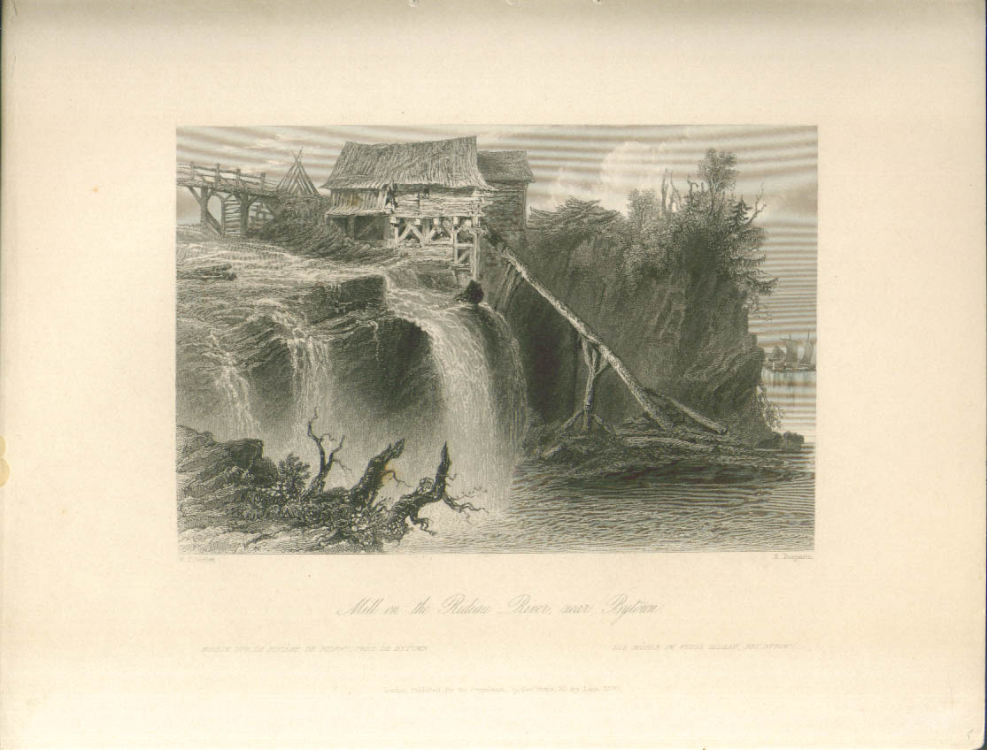 Rideau River Mill Bytown ON Bartlett engraving 1841