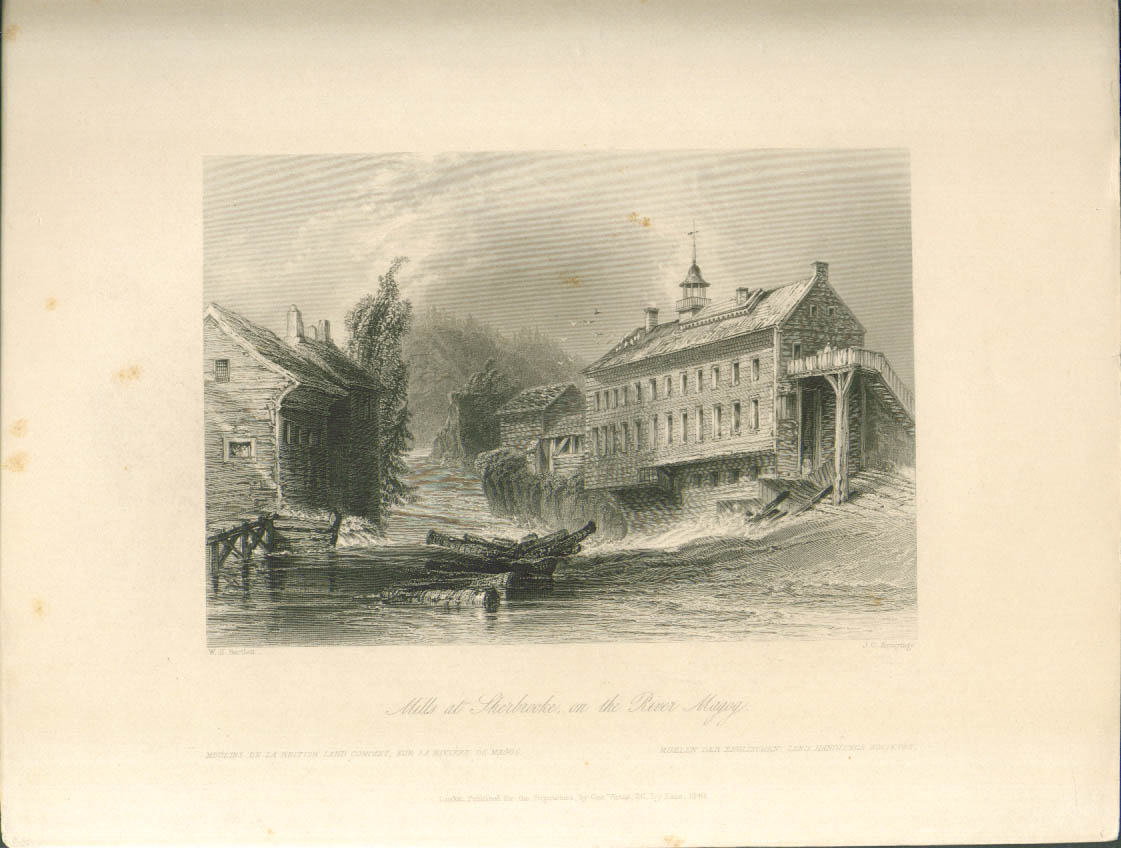 Mills Sherbrooke Magog River Bartlett engraving 1840